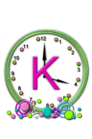 big timer: The letter K, in the alphabet set Timeless, is sitting in the middle of a wall clock.  Frame for clock is green and letter is hot pink.
