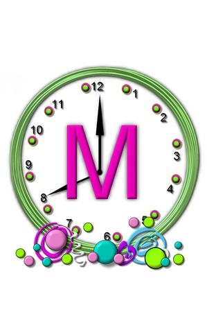 timeless: The letter M, in the alphabet set Timeless, is sitting in the middle of a wall clock.  Frame for clock is green and letter is hot pink. Stock Photo