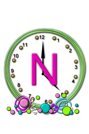 timeless: The letter N, in the alphabet set Timeless, is sitting in the middle of a wall clock.  Frame for clock is green and letter is hot pink.