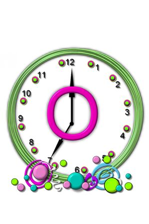 The letter O, in the alphabet set Timeless, is sitting in the middle of a wall clock.  Frame for clock is green and letter is hot pink.