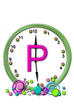 timeless: The letter P, in the alphabet set Timeless, is sitting in the middle of a wall clock.  Frame for clock is green and letter is hot pink. Stock Photo