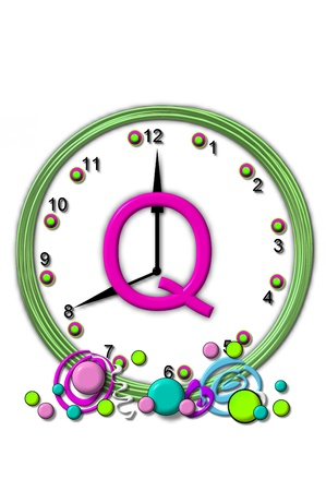timeless: The letter Q, in the alphabet set Timeless, is sitting in the middle of a wall clock.  Frame for clock is green and letter is hot pink. Stock Photo