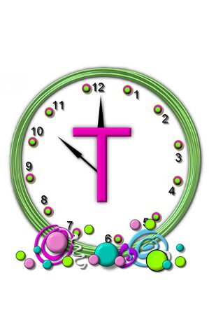 timeless: The letter T, in the alphabet set Timeless, is sitting in the middle of a wall clock.  Frame for clock is green and letter is hot pink.