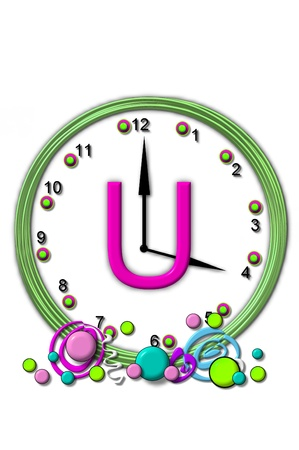 big timer: The letter U, in the alphabet set Timeless, is sitting in the middle of a wall clock.  Frame for clock is green and letter is hot pink.