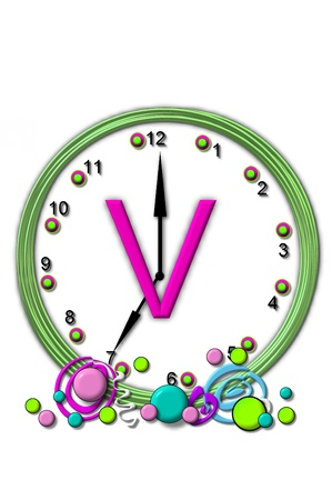 big timer: The letter V, in the alphabet set Timeless, is sitting in the middle of a wall clock.  Frame for clock is green and letter is hot pink.