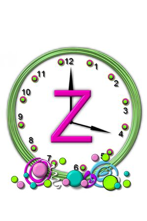 timeless: The letter Z, in the alphabet set Timeless, is sitting in the middle of a wall clock.  Frame for clock is green and letter is hot pink. Stock Photo