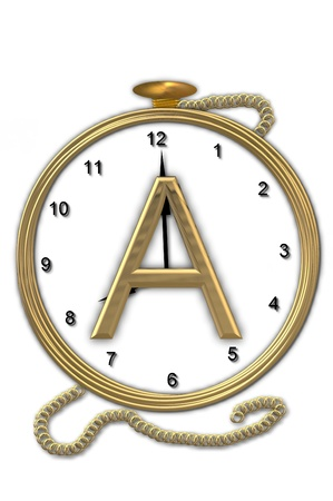Alphabet letter A, is from the alphabet set Pocket watch  Watch has the letter sitting on face of gold, timepiece.  Letter is gold and background is white.