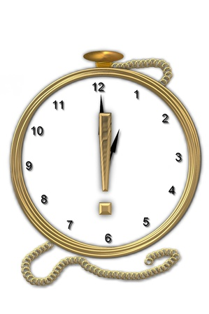 wasted: Exclamation point, is from the alphabet set Pocket watch  Watch has the letter sitting on face of gold, timepiece.  Letter is gold and background is white. Stock Photo