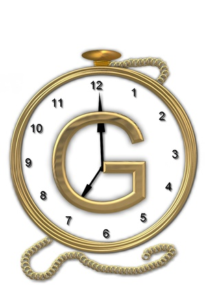 big timer: Alphabet letter G, is from the alphabet set Pocket watch  Watch has the letter sitting on face of gold, timepiece.  Letter is gold and background is white.