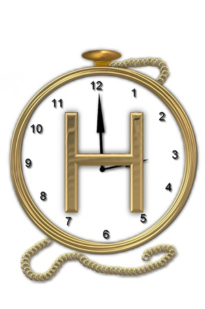 Alphabet letter H, is from the alphabet set Pocket watch  Watch has the letter sitting on face of gold, timepiece.  Letter is gold and background is white.