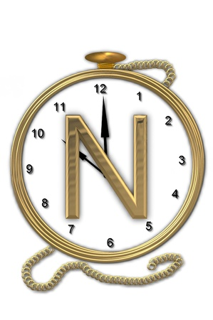wasted: Alphabet letter N, is from the alphabet set Pocket watch  Watch has the letter sitting on face of gold, timepiece.  Letter is gold and background is white. Stock Photo