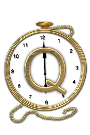 timeless: Alphabet letter Q, is from the alphabet set Pocket watch  Watch has the letter sitting on face of gold, timepiece.  Letter is gold and background is white.