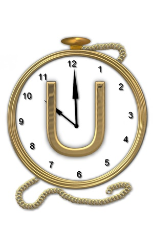 wasted: Alphabet letter U, is from the alphabet set Pocket watch  Watch has the letter sitting on face of gold, timepiece.  Letter is gold and background is white.