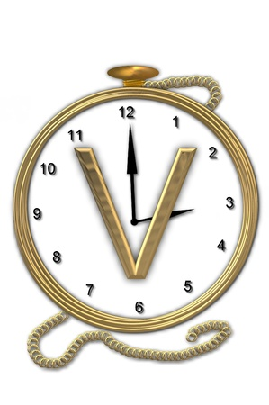 big timer: Alphabet letter V, is from the alphabet set Pocket watch  Watch has the letter sitting on face of gold, timepiece.  Letter is gold and background is white.