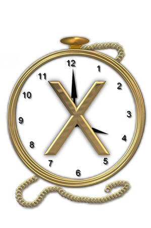Alphabet letter X, is from the alphabet set Pocket watch  Watch has the letter sitting on face of gold, timepiece.  Letter is gold and background is white.