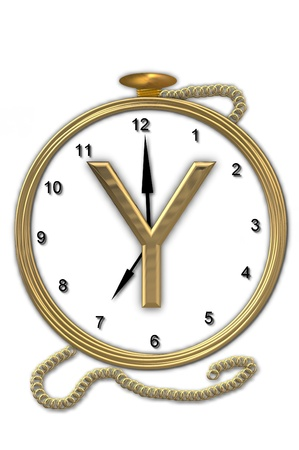 big timer: Alphabet letter Y, is from the alphabet set Pocket watch  Watch has the letter sitting on face of gold, timepiece.  Letter is gold and background is white.