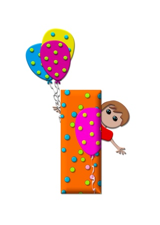 The letter I, in the alphabet set Preparing to Party, is filled with balloons and polka dots.  Boy holds cluster of balloons and waves. photo