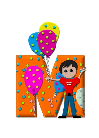 child holding sign: The letter M, in the alphabet set Preparing to Party, is filled with balloons and polka dots.  Boy holds cluster of balloons and waves. Stock Photo