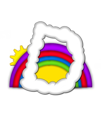 d: The letter D, in the alphaet set Rainbow, is shaped like a fluffy cloud.  Colorful rainbow backs letter with yellow sun peaping from behind.