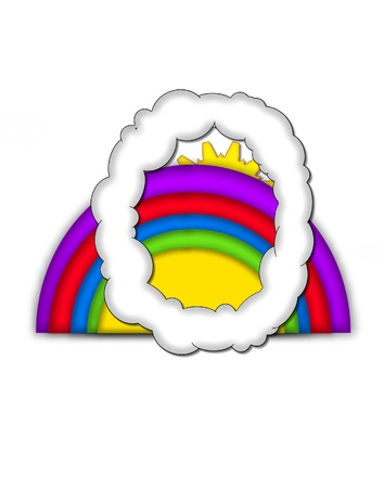 The letter O, in the alphaet set Rainbow, is shaped like a fluffy cloud.  Colorful rainbow backs letter with yellow sun peaping from behind. Stock Photo - 16322075