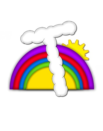 The letter T, in the alphaet set Rainbow, is shaped like a fluffy cloud.  Colorful rainbow backs letter with yellow sun peaping from behind. Stock Photo - 16322065
