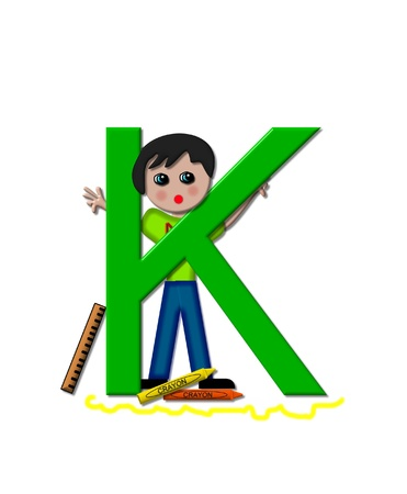 The letter K, in the alphabet set School Zone is decorated with a school boy hiding behind large letter.  At the base of the letter crayons lay besides a scribbled line. photo