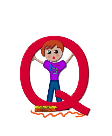 The letter Q, in the alphabet set School Zone is decorated with a school boy inside letter.  At the base of the letter crayons lay besides a scribbled line. photo