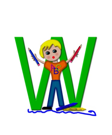 The letter W, in the alphabet set School Zone is decorated with a school boy holding two pencils.  At the base of the letter crayons lay besides a scribbled line. Stock Photo - 16322074