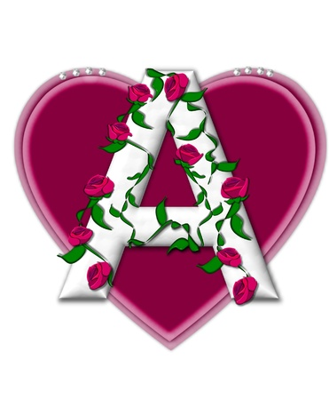 twining: The letter A, in the alphabet set Rosey Vine, is a white letter with climbing roses twining around its shape.  It sets on two large hearts topped with pearls.