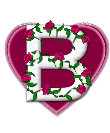 The letter B, in the alphabet set Rosey Vine, is a white letter with climbing roses twining around its shape.  It sets on two large hearts topped with pearls.
