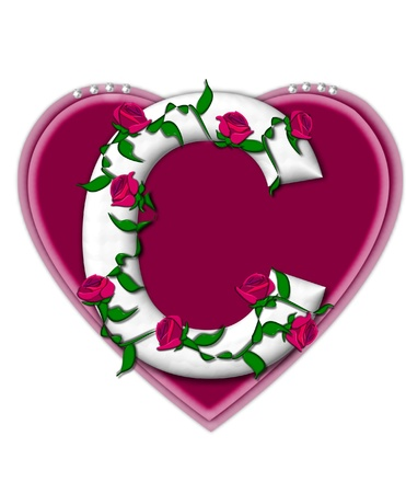 The letter C, in the alphabet set Rosey Vine, is a white letter with climbing roses twining around its shape.  It sets on two large hearts topped with pearls. photo