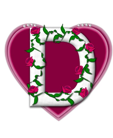 twining: The letter D, in the alphabet set Rosey Vine, is a white letter with climbing roses twining around its shape.  It sets on two large hearts topped with pearls.