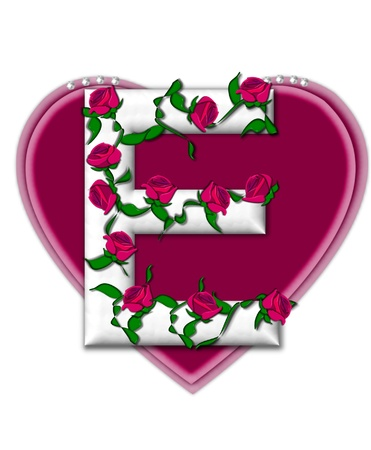 twining: The letter E, in the alphabet set Rosey Vine, is a white letter with climbing roses twining around its shape.  It sets on two large hearts topped with pearls.