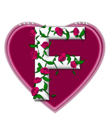 The letter F, in the alphabet set Rosey Vine, is a white letter with climbing roses twining around its shape.  It sets on two large hearts topped with pearls. photo