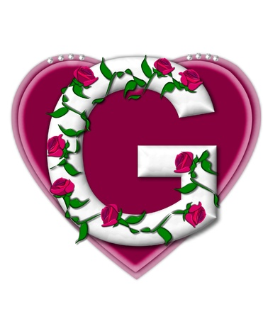 The letter G, in the alphabet set Rosey Vine, is a white letter with climbing roses twining around its shape.  It sets on two large hearts topped with pearls. photo