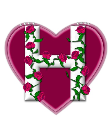 The letter H, in the alphabet set Rosey Vine, is a white letter with climbing roses twining around its shape.  It sets on two large hearts topped with pearls. photo