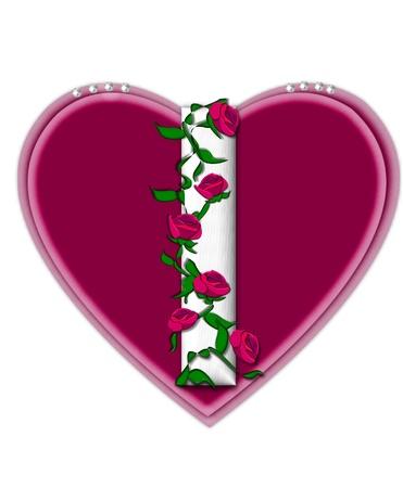 편지 나 문자 집합 Rosey 포도 나무에, 그 모양 주위 꼬는 장미를 등반 흰색 문자입니다. 그것은 진주를 얹은 두 개의 큰 마음을 설정합니다.