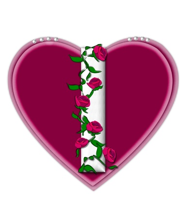twining: The letter I, in the alphabet set Rosey Vine, is a white letter with climbing roses twining around its shape.  It sets on two large hearts topped with pearls. Stock Photo