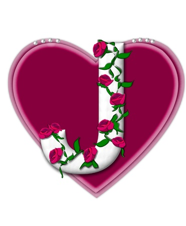 twining: The letter J, in the alphabet set Rosey Vine, is a white letter with climbing roses twining around its shape.  It sets on two large hearts topped with pearls.