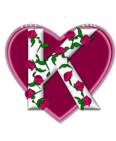 The letter K, in the alphabet set Rosey Vine, is a white letter with climbing roses twining around its shape.  It sets on two large hearts topped with pearls. photo