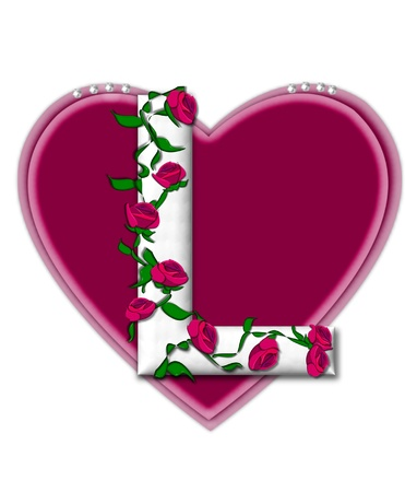 twining: The letter L, in the alphabet set Rosey Vine, is a white letter with climbing roses twining around its shape.  It sets on two large hearts topped with pearls. Stock Photo