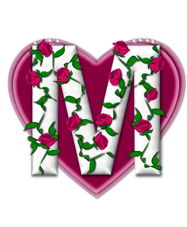 The letter M, in the alphabet set Rosey Vine, is a white letter with climbing roses twining around its shape.  It sets on two large hearts topped with pearls. Stock Photo