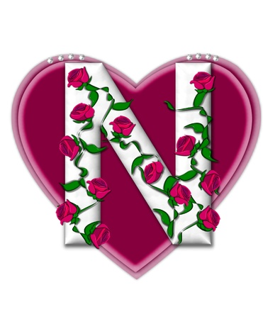 The letter N, in the alphabet set Rosey Vine, is a white letter with climbing roses twining around its shape.  It sets on two large hearts topped with pearls. Stock Photo