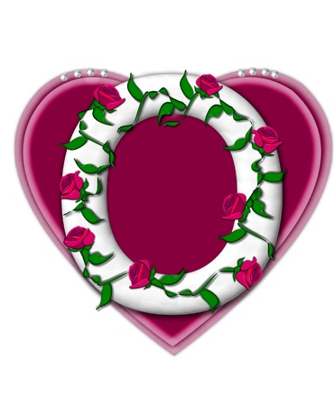 twining: The letter O, in the alphabet set Rosey Vine, is a white letter with climbing roses twining around its shape.  It sets on two large hearts topped with pearls.