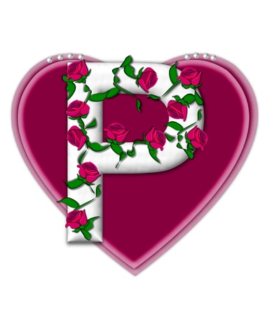 flower vines: The letter P, in the alphabet set Rosey Vine, is a white letter with climbing roses twining around its shape.  It sets on two large hearts topped with pearls.
