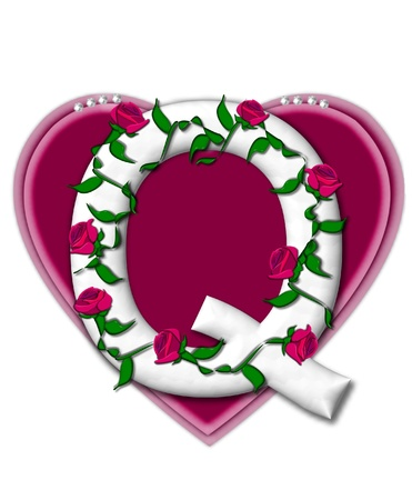 twining: The letter Q, in the alphabet set Rosey Vine, is a white letter with climbing roses twining around its shape.  It sets on two large hearts topped with pearls.
