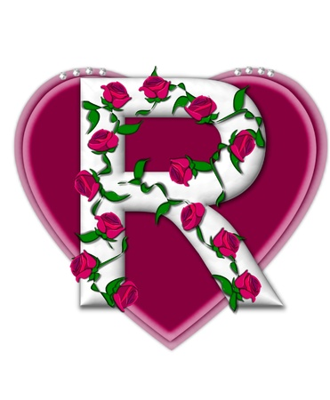The letter R, in the alphabet set Rosey Vine, is a white letter with climbing roses twining around its shape.  It sets on two large hearts topped with pearls. photo