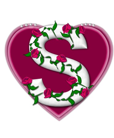 The letter S, in the alphabet set Rosey Vine, is a white letter with climbing roses twining around its shape.  It sets on two large hearts topped with pearls. Imagens