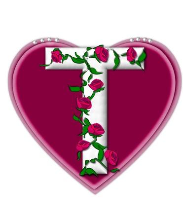 문자 T는 알파벳 세트 Rosey 포도 나무에, 그 모양 주위 꼬는 장미를 등반 흰색 문자입니다. 그것은 진주를 얹은 두 개의 큰 마음을 설정합니다. 스톡 콘텐츠
