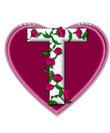 The letter T, in the alphabet set Rosey Vine, is a white letter with climbing roses twining around its shape.  It sets on two large hearts topped with pearls.